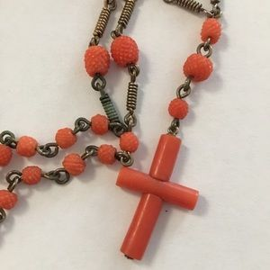 Antique carved coral & silver French Rosary